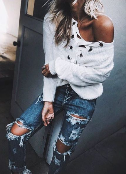 lace up + distressed denim