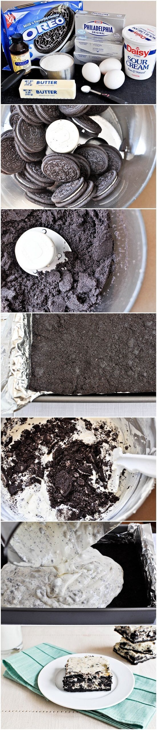Cookies and Cream Cheesecake Bars | CookJino