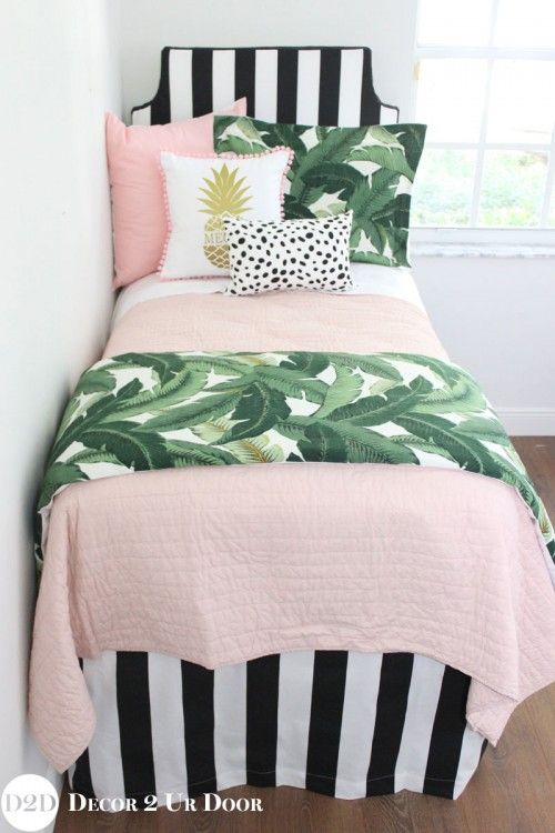 Perfectly pretty in PALM Beach. This gotta-have-it palm tree leaf fabric is simply spectacular. Stripes, pastel pinks, and Dalmatian prints…this bold yet beautiful set would look beautiful in your teen girl bedroom.