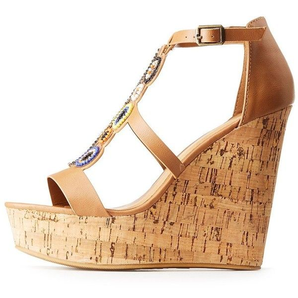Bamboo Beaded Wedge Sandals ($20) ❤ liked on Polyvore featuring shoes, sandals, camel, beaded wedge sandals, camel wedge sandals, wedge heel sandals, peep toe platform sandals and bamboo sandals