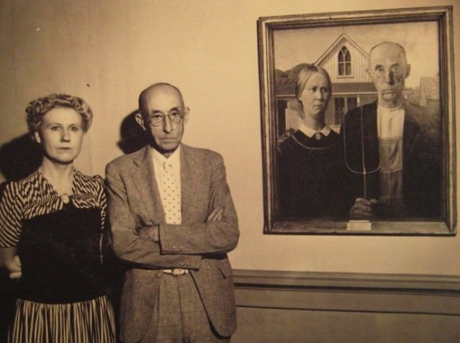 The models used for the painting 'American Gothic' by Grant Wood, 1930.