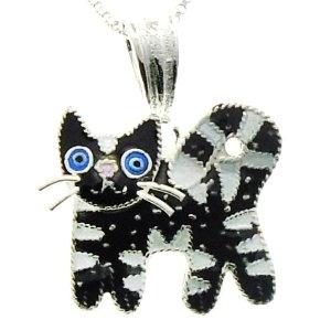Feline Friends Black Striped Cat Pendant w/ Necklace by Zarah