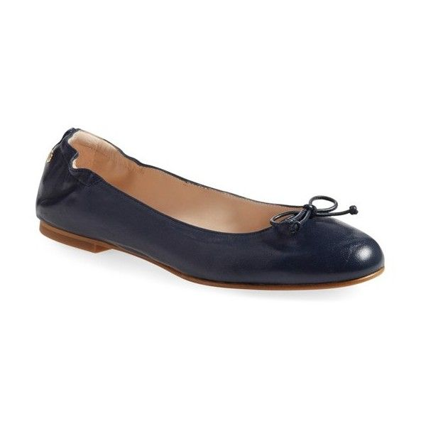L.K. Bennett 'Thea' Ballet Flat (€200) found on Polyvore featuring women's fashion, shoes, flats, navy leather, leather shoes, navy shoes, navy ballet flats, ballet shoes and leather ballet shoes