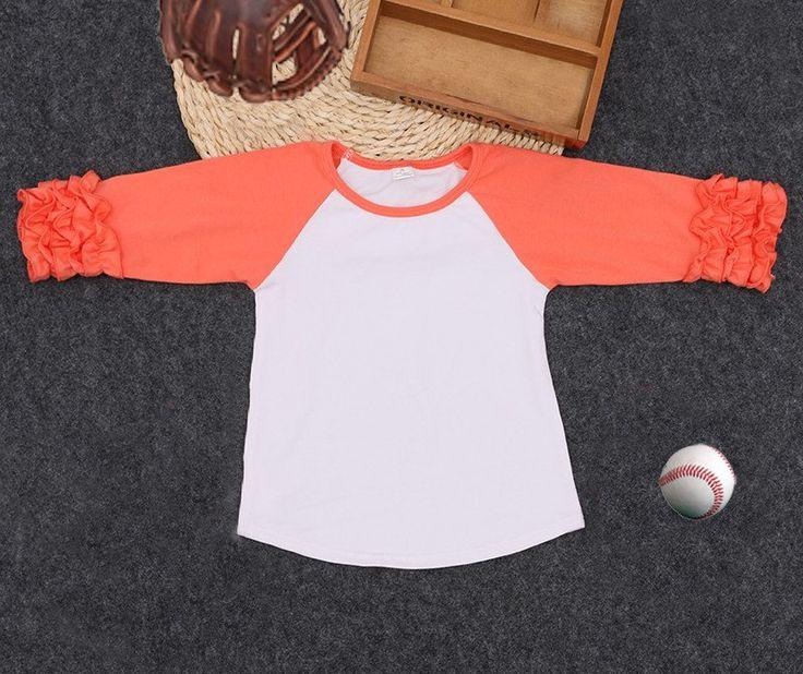Girls Deep Peach Ruffle Sleeve Raglan T-Shirt
