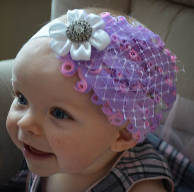 Baby girl, feather headband, ribbon flower, gems, photography props, beautiful, unique designs, Infant accessories, baby headbands, purple headbands, Little Gracie's Creations, https://www.etsy.com/ca/people/mlingley1?ref=si_pr