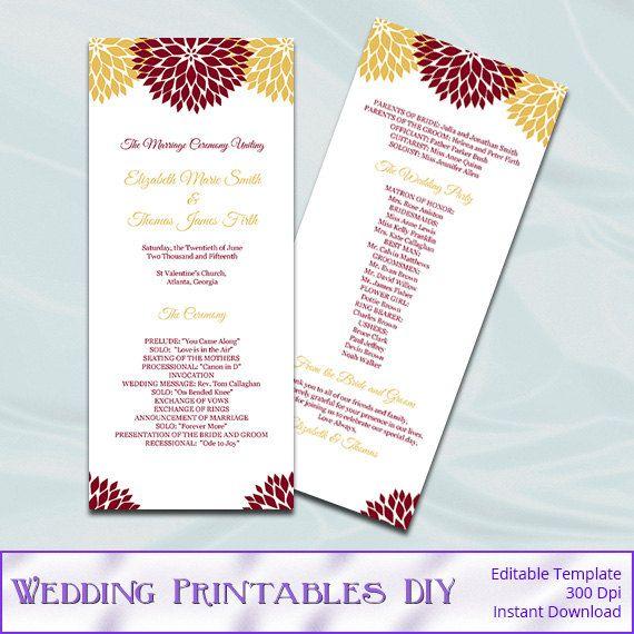 Wedding Ceremony Program Template  by WeddingPrintablesDiy on Etsy