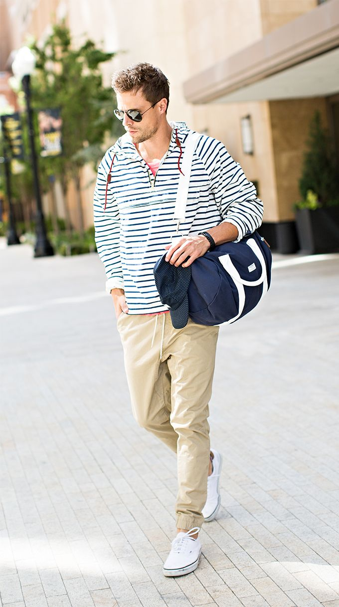 Men's striped windbreaker #oldnavystyle