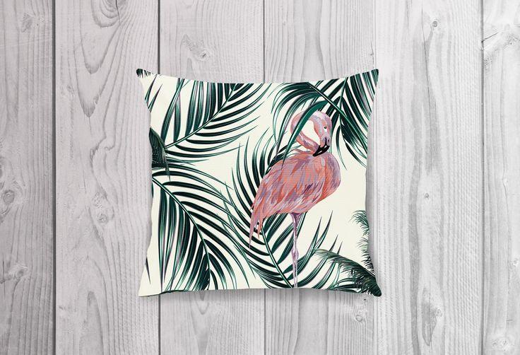 Reversible Cushion Cover ~ FLAMINGO JUNGLE ~ Flamingo Side by KateStClaireLivingCo on Etsy