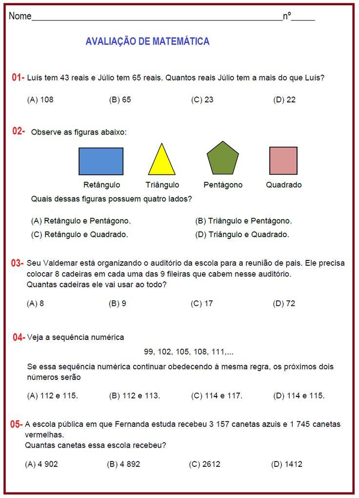 Avaliação de Matemática 4º ano   Sala de Aula – Profª Rérida