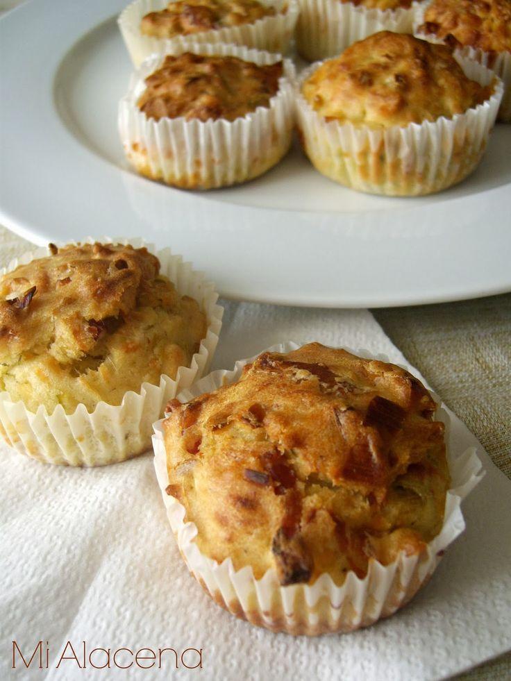 Muffins de bacon, puerro y queso