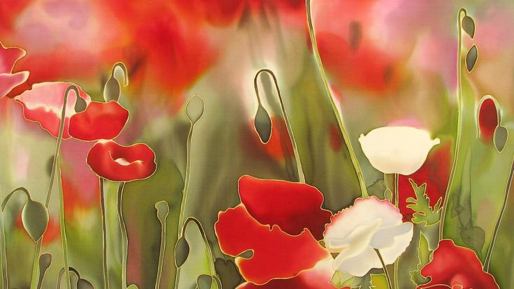 Field of poppies, silk, painting, batik, red poppy, батик, маки, шелк