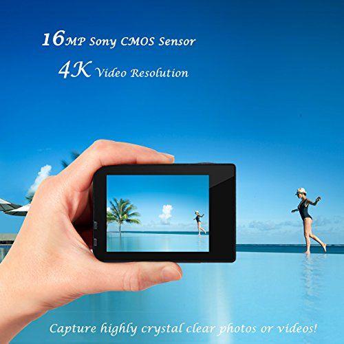 Campark® 4k Wifi Ultra HD Resistente al agua Cámara de Acción Deportiva Temporizador y Grabación en Cámara Lenta Cámara de Casco Amplio Ángulo de Visión 170 DVR Videocámara (Regalo incluido de 23€: Maletín profesional +Batería de repuesto)