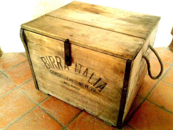 Cassa legno birra italia  d'epoca.