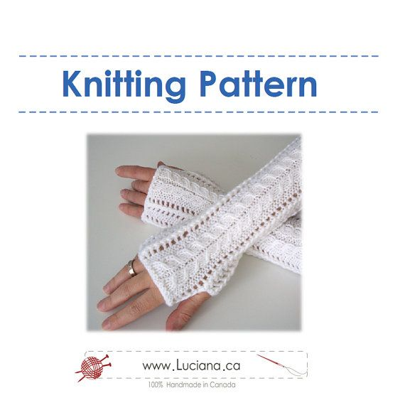 Knitting Pattern Lace Fingerless Gloves by lucianap on Etsy