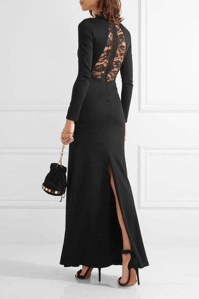 Black stretch-jersey and lace Concealed hook and zip fastening at back 74% viscose, 20% nylon, 6% elastane; trim: 75% viscose, 25% nylon; lining1: 84% nylon, 16% elastane; lining2: 100% silk Dry clean Imported