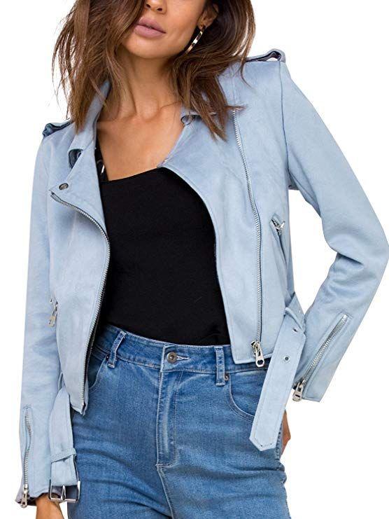 a2c3f011aba0 Missy Chilli Women's Faux Leather Suede Zip up Belted Lapel Moto Biker  Jacket at Amazon Women's Coats Shop