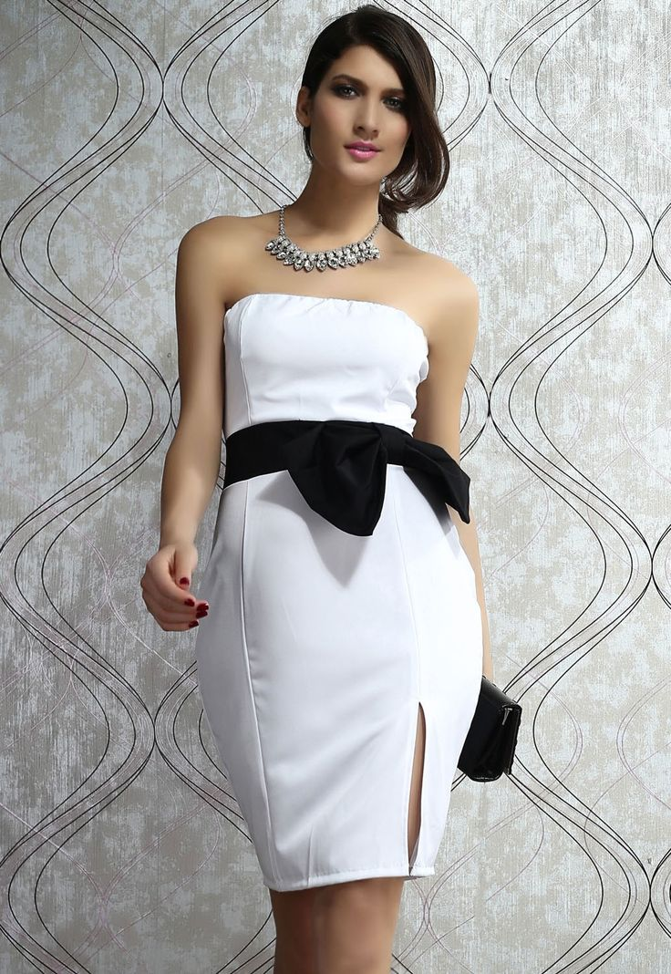 Midi Robes Side Up Superbe Robe Bustier Blanc Pas Cher www.modebuy.com @Modebuy #Modebuy #Blanc #robes #me