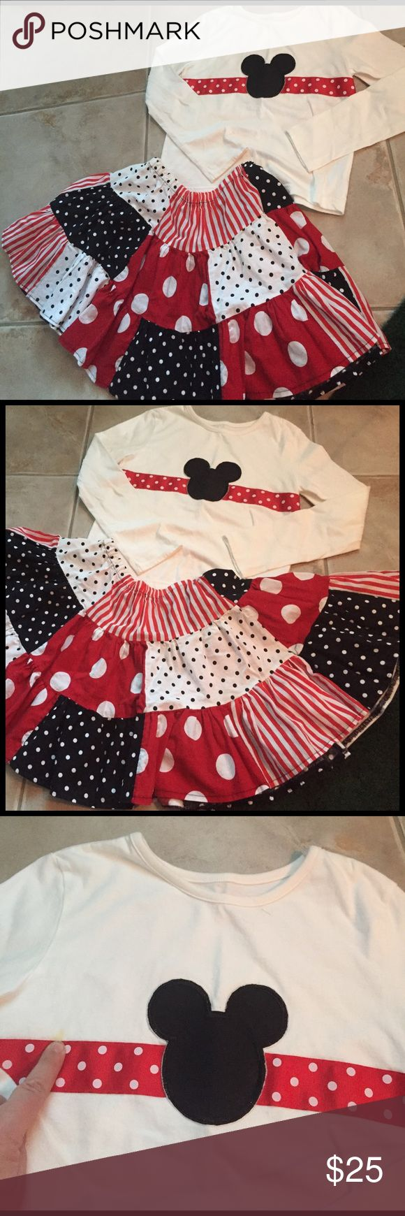 Handmade skirt and top Disney inspired girls outfit size medium (7/8).  Small stain in last photo. Other
