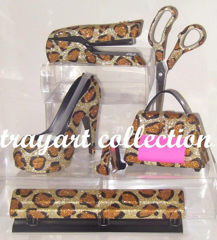 6pc Gold Bronze Leopard Set, Stapler, Scissors, High Heel Tape Dispenser,  Purse. Wholesale Office SuppliesOffice ...