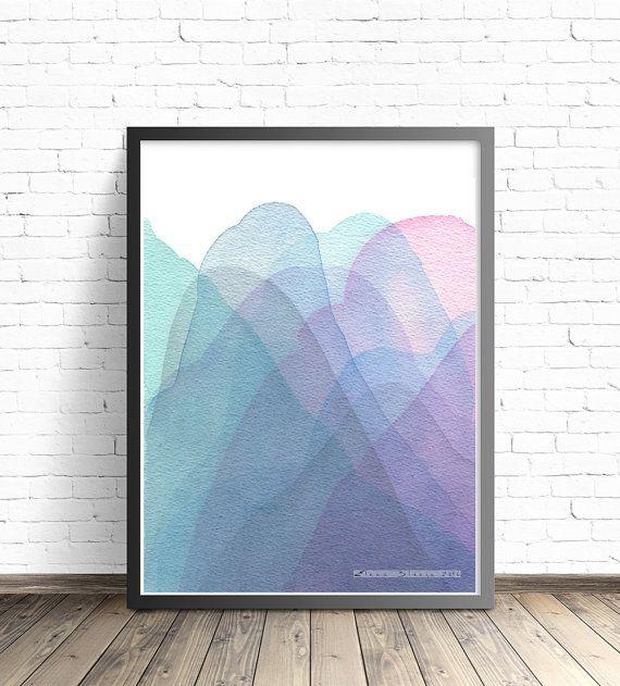 Mountain Print. Modern Art print. Abstract Mountains. Abstract watercolor print. Modern home decor wall poters. Living room wall art