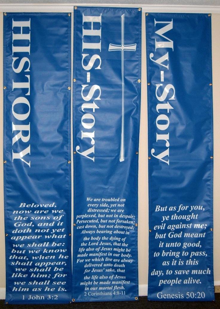 X Blue Vinyl Banners Vertical Rhema Christian Center - Vertical vinyl banners