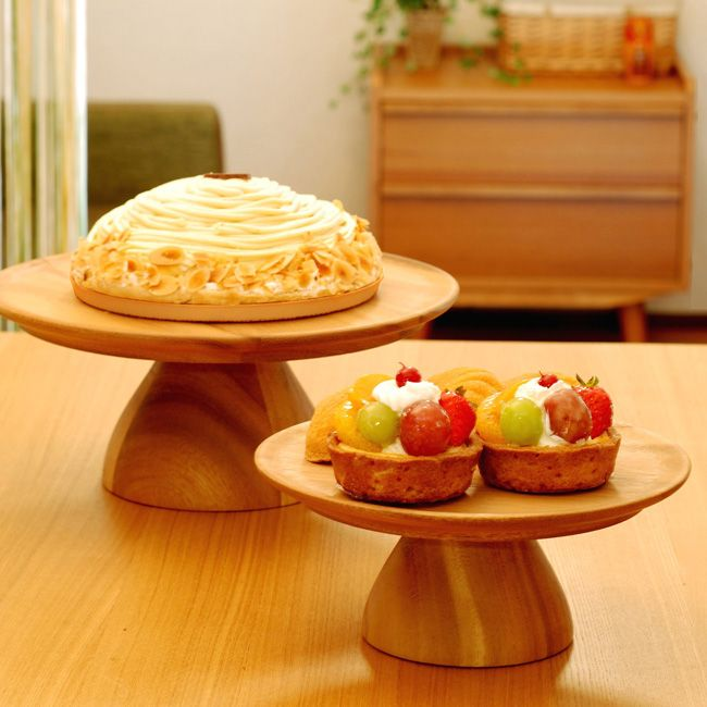 ChabaTree(チャバツリー)ケーキスタンドLサイズ(28cm/木製ケーキスタンド/チークウッド/1段/ケーキ台)