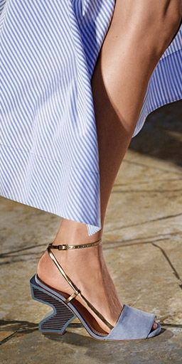 Tory Burch 2016 NYFW - suede, metallic straps and an architectural heel  inlaid with tonal raw stacked leather
