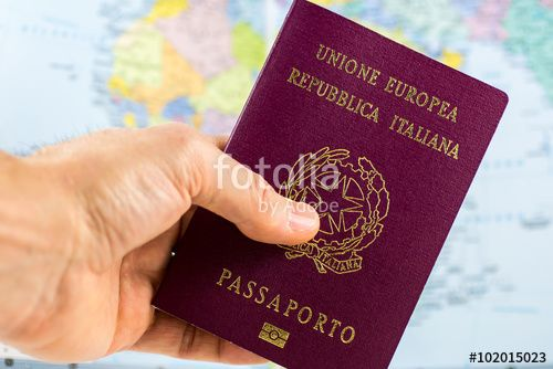 #hand #hold #Italian #Passport #documents #Italy #map