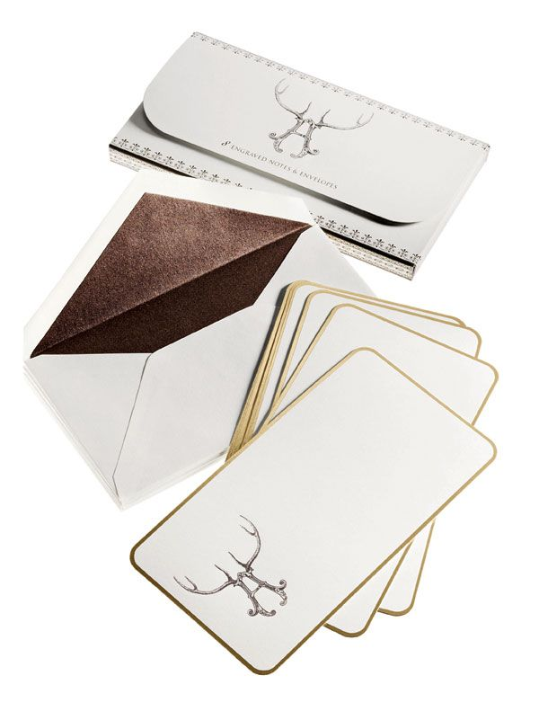 "Set of eight engraved ""Stag Alphabet"" correspondence cards with portfolio case, at Bergdorf Goodman."