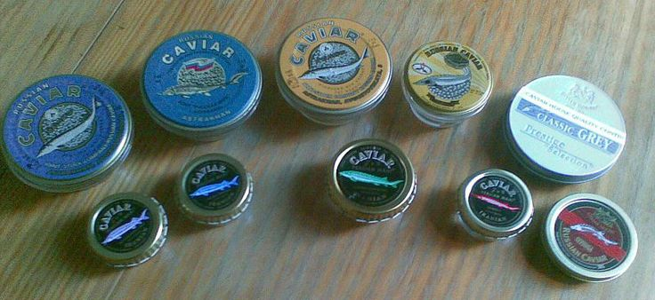 Caviar tins (Russian and Iranian) (cropped) The four main types of caviar are Beluga, Sterlet, Ossetra, and Sevruga. The rarest and costliest is from beluga sturgeon that swim in the Caspian Sea, which is bordered by Iran, Kazakhstan, Russia, Turkmenistan and Azerbaijan.