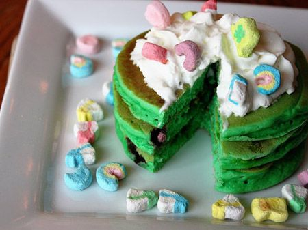Top o' the Morning Lucky Charms Pancakes  Here is a fun and festive way to start your St. Patrick's Day celebration!