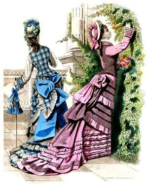 1875 fashion print- there's that vest-like style with contrasting sleeves; very pretty on the blue plaid