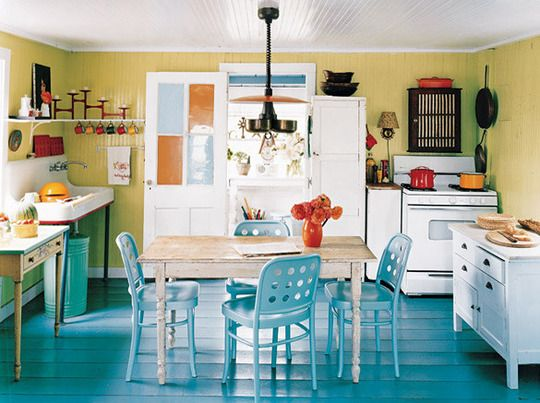 love the use of blue color in this systematic room: Cottages Kitchens, Turquoise Kitchens Decor, Color Kitchens, Blue Floors, Paintings Woods Floors, Apartment Therapy, Blue Kitchens, Robins Eggs Blue, Paintings Floors
