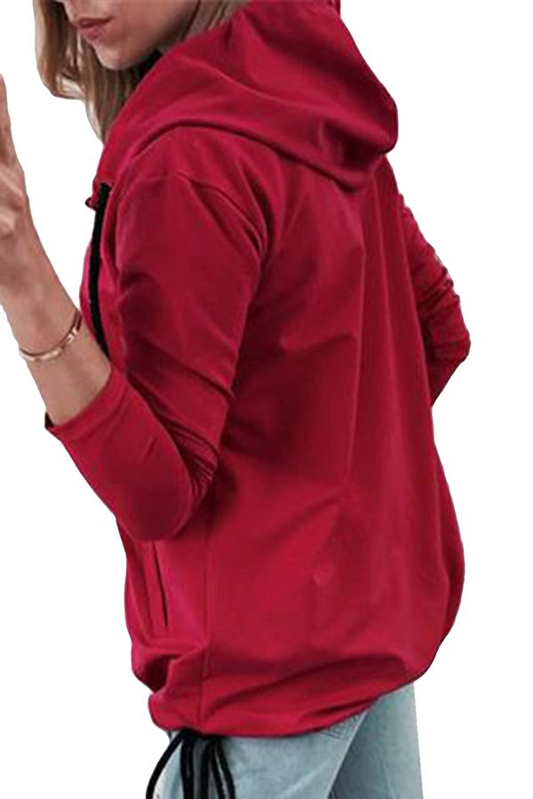 d4bb8847f Long Sleeve Drawstring Side Tie Plain Zip Up Hoodie Watermelon Red ...