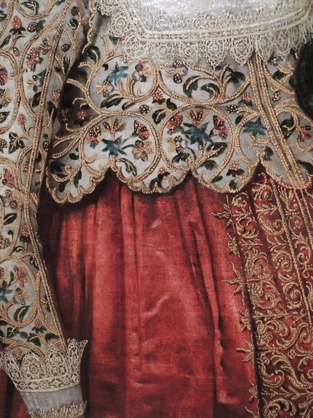Details from Portrait of a Woman, British School, c1620.