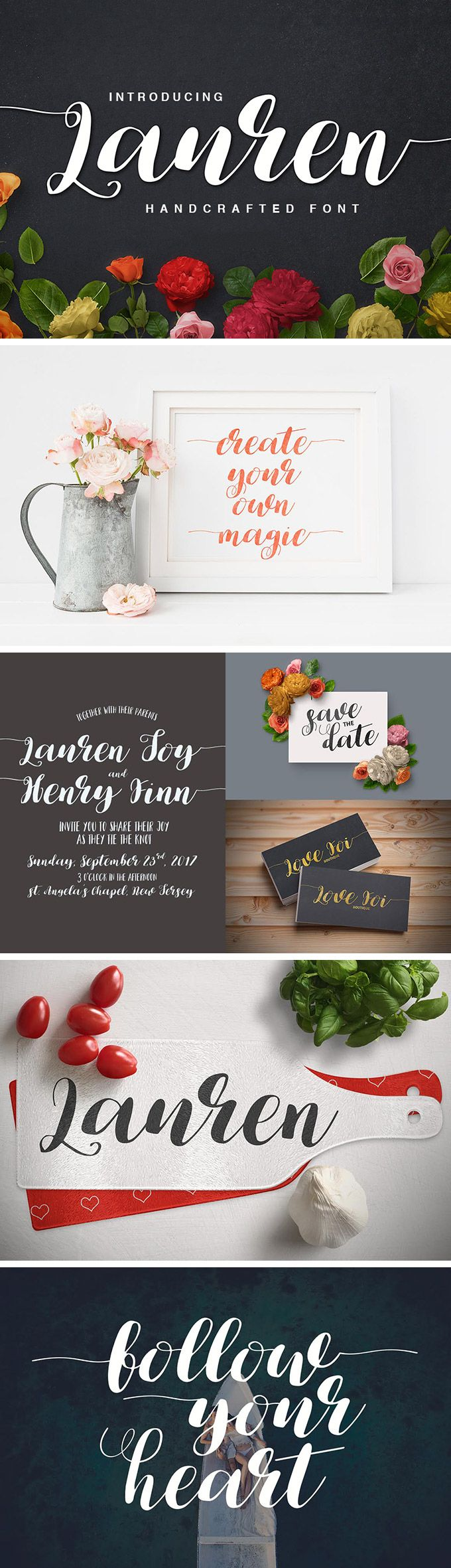 Lauren – Free Handcrafted Script Font which will give you rich stylistic alternates and ligatures via Open Type features. This calligraphy font comes in OTF, TTF, and Web Fonts formats. It is great for using in greeting cards, business cards, branding materials, quotes, posters, and much more!