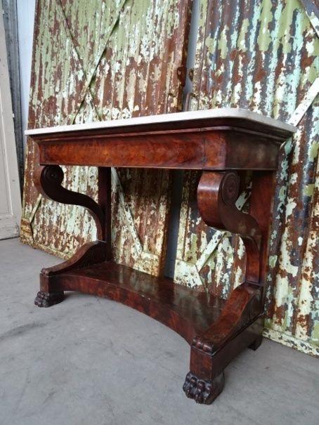 Side Table Met Lade.Mahonie Trumeau Side Table Met Lade En Marmer Decoracion