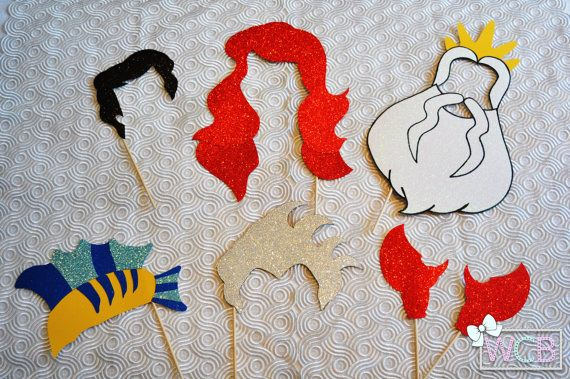 Props de Cabina de Fotos inspiradas en La Sirenita | Ariel | Eric | Rey Triton | Sebastian | Flounder | Ursula