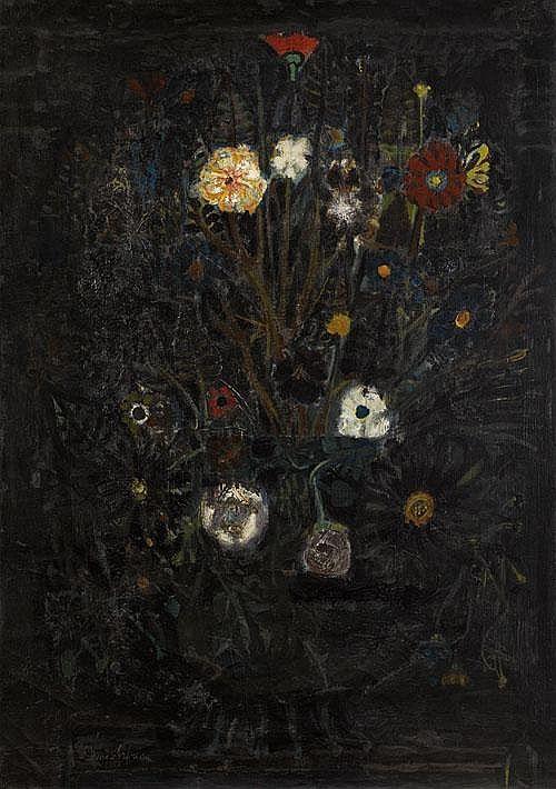 "Avni ARBAS (1919-2003), ""Flowers"", oil on canvas,"