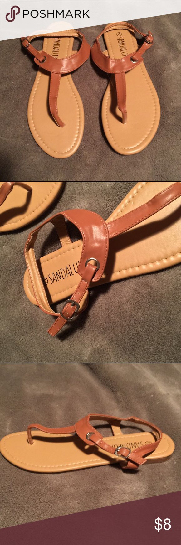 Tan Sandals Tan sandals!  Never worn, they were a little too small for me, I have long toes. :) Shoes Sandals