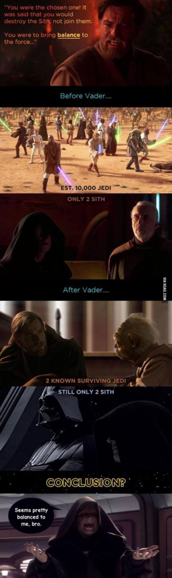 Star Wars characters reacting! Anakin: see? I totally balanced the force! Obi-Wan: you did still joined them though…