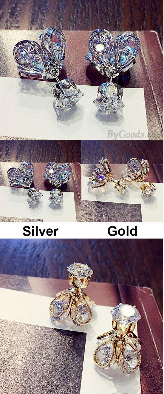 Shining Alloyed Glowworm Crystal Diamond-bordered Petaloid Women's Gold Silver Plated Earring Studs for big sale! #women #earrings #studs #silver #cute #fashion