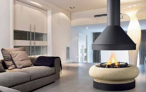 Contemporary Central Fireplace Wood Burning Open Hearth