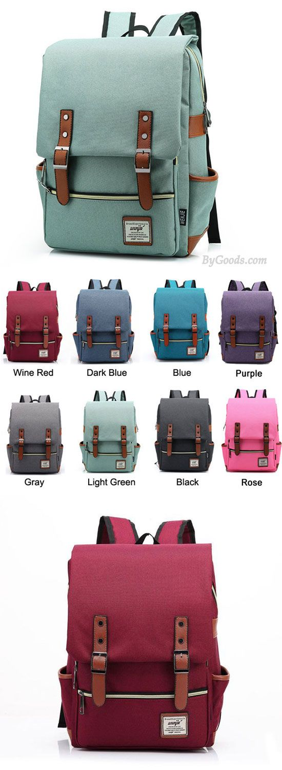I like the green !!Vintage Travel Backpack Leisure Canvas With Leather Backpack&Schoolbag for big sale . Which color do you like? #backpack #canvas #school #college #travel #bag #book