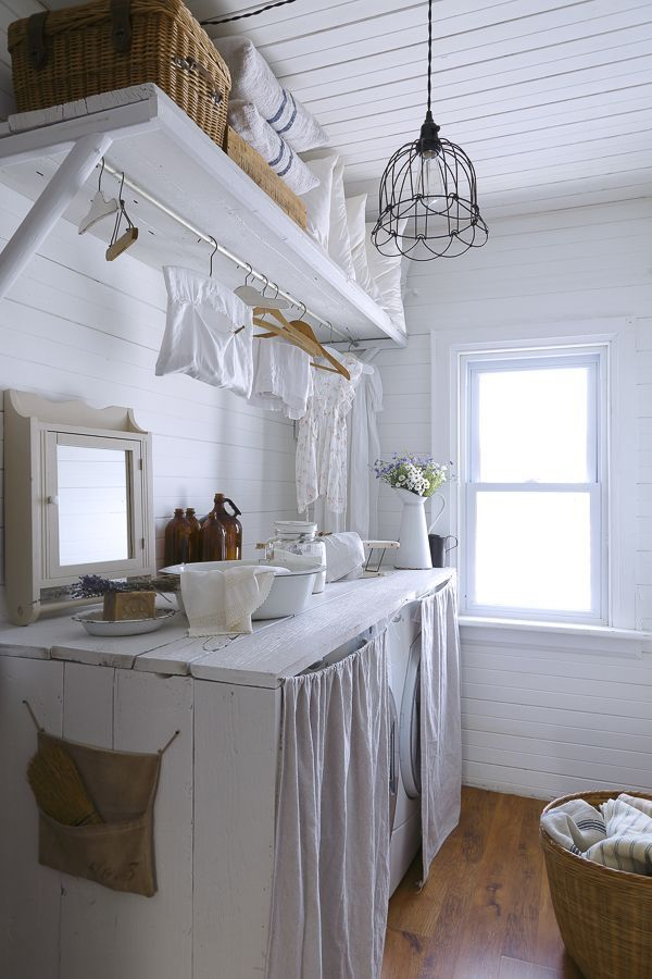 52 ways incorporate shabby chic style into every room in for Country laundry room curtains