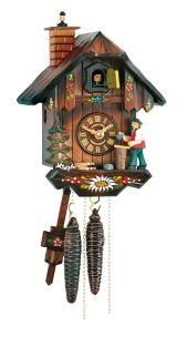 Relógio de Cuco<br>Casa da Floresta Negra com limpador de chaminé e lenhador movendo