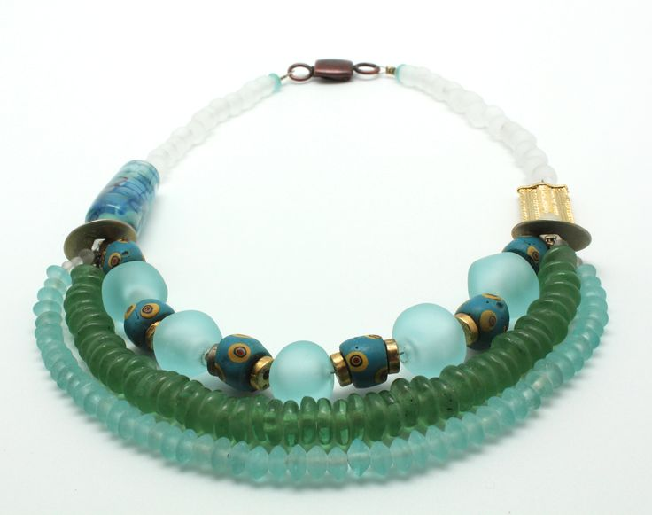 #Waves #blue & #green #shades  #Handcrafted #crafts #unique #sale #Murano #glass #necklace #unique #piece #Focal bead is #Muranoglass and special #reactive glass. #Hollow #acqua #beads #handmade on the #torch  #Blue #beads #yellow #murini are #ancient #Venetian #XIXth were used as #currency in exchange of #slaves