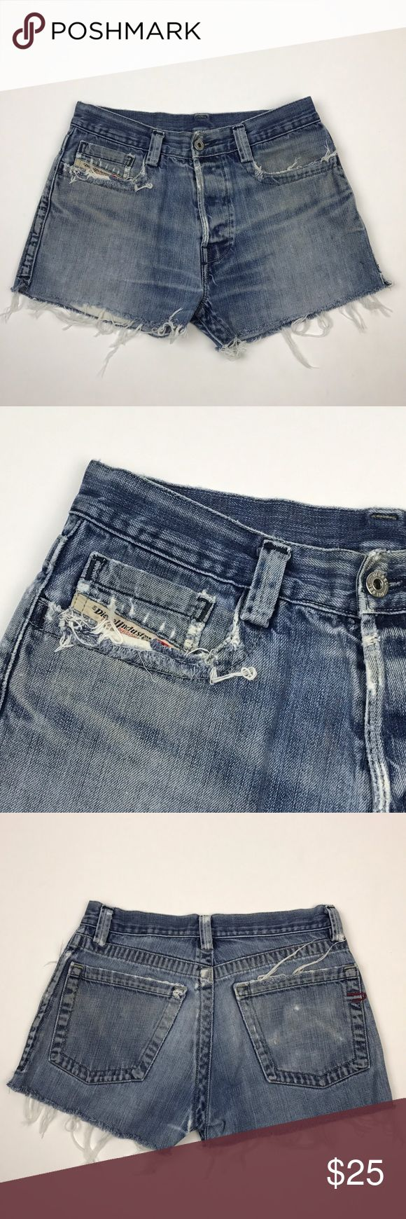 "[Diesel] Distressed Denim Cutoff Shorts Festival S Custom pair of one of a kind cutoff shorts handcrafted from a pair of men's Diesel jeans size 30. Measures and fits like a women's size 27. Check measurements! Boyfriend style. Button fly. Small side slits. Super distressed.  🔹Waist: 15"" flat across 🔹Hips: 19"" flat across 🔹Rise: 10"" 🔹Inseam: 2.5"" 🔹Out Seam: 12"" 🔹Condition: Excellent pre-owned condition. Distressed by design.  *BB22 Diesel Shorts Jean Shorts"