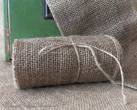 "Burlap Ribbon Garland 6"" wide, Natural Jute, Set of Three Ten Foot Ribbon Garlands. Excellent for table runners."