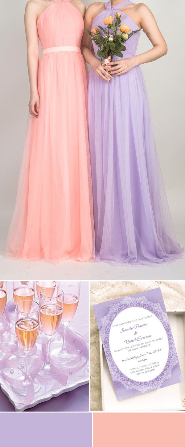 pleated lavender and peach bridesmaid dresses and lavender water wedding invitations